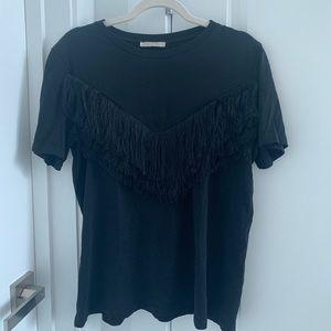 Black T-Shirt with Fringe Detail